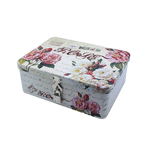 Multifit Metal Square Storage Box Tea Caddy Pill Case Tea Canister Coin Container Decorative Tin(Flower)