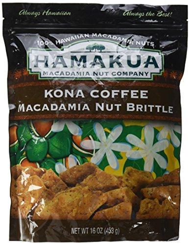 Hamakua Kona Coffee Macadamia Nut Brittle 100% Hawaiian Large 1 lb. bag