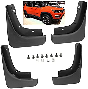 biosp Auto Mud Flaps Splash Guards For Jeep Compass 1.4T 2017 2018 2019 Front and Rear Fender Cover PP-Custom Fit Black Molded 4Pcs Set