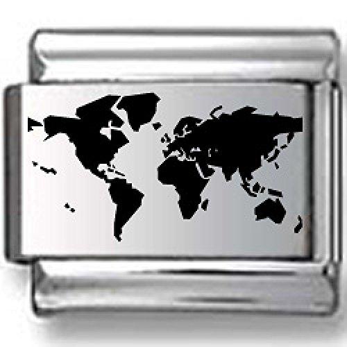 (Map of World Black Laser Italian Charm)