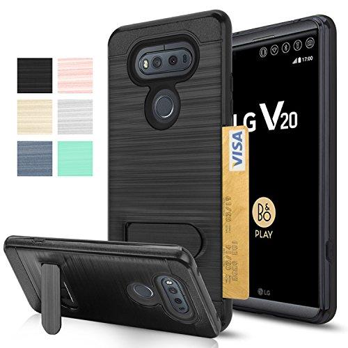 [해외]LG V20 케이스, AnoKe [카드 슬롯 홀더] [지갑이 아님] 경성 플라스틱 PC를 킥킨다 TPU 소프트 하이브리드 충격 방지 중장비 보호용 홀스터 스탠드 케이스 LG/LG V20 Case,AnoKe [Card