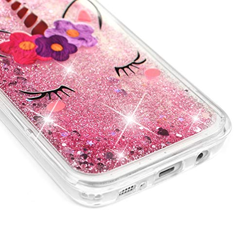 Galaxy S7 Edge Case, Clear Liquid Glitter Case Air-Cushion Drop Resistant Shiny Sparkle Flowing Moving Hearts Shock Absorption TPU Bumper Shell Protective Cover for Samsung Galaxy S7 Edge - Unicorn by KASOS (Image #4)