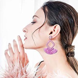 MTSCE Womens Beaded Tassel Earrings Colorful Fringe Drop Dangle Bohemian Statement Earrings Handmade Geometry Sector Earrings for Women Girls Valentines Day
