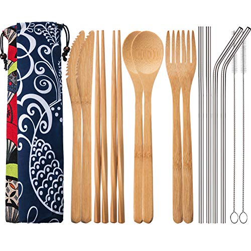 Blulu 2 Set Bamboo Utensils Travel Cutlery Set Flatware Set 7.8 Inches Bamboo Knife Fork Spoon Chopsticks, Stainless Steel Straight Straw Bent Straw with Clean Brush and Cloth Pouch