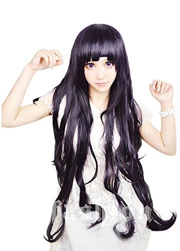 [Cf-fashion Danganronpa Mikan Tsumiki Cosplay Wig Costume Dark Purple + Free Wig Cap] (Purple Wig Costumes)
