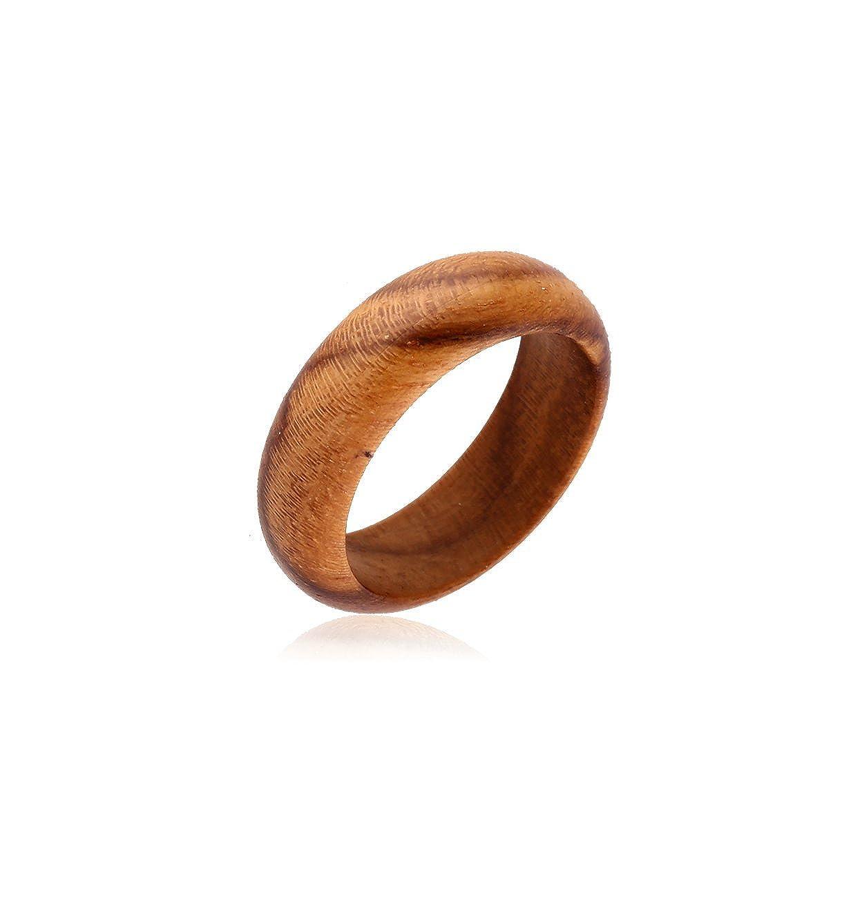 Qbubble Bubble Plain Wood Ring-Teak Wood Round Fashion Rings 200-WKF218-27AA