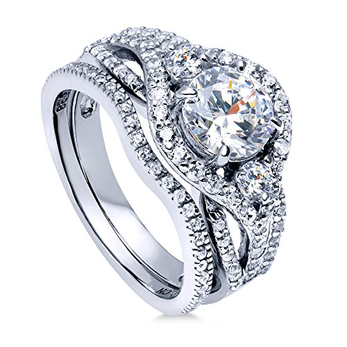 BERRICLE Rhodium Plated Sterling Silver Round Cubic Zirconia CZ 3-Stone Anniversary Engagement Wedding Ring Set 2.22 CTW Size 8.5