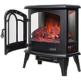 "Golden Vantage 20"" Freestanding Black Mantel Finish Log Fuel Bed 3-Side Glass Electric Fireplace Stove Heater"