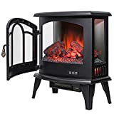 Golden Vantage 20″ Freestanding Black Mantel Finish Log Fuel Bed 3-Side Glass Electric Fireplace Stove Heater Review