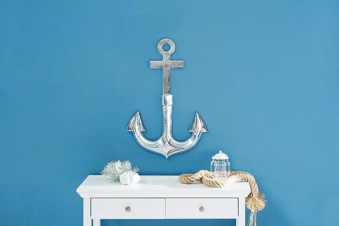 Invicta Interior Maritime Wanddekoration Anchor Silber 3D Anker Wandmontage Dekoration Aluminium Wanddeko Accessoire Wohnaccessoire