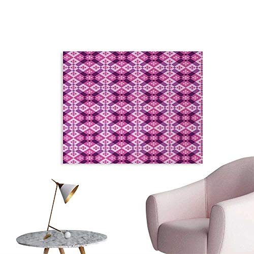 Vintage Floorboards - Tudouhoho Abstract Wall Poster Geometric Tiles Square and Rectangles Floorboard Style Modern Art Art Decor Decals Stickers Fuchsia Hot Pink Pale Mauve W36 xL24