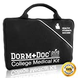 College First Aid Medical Kit Essential Dorm Room Accessory - Complete 125 Piece Kit with First Aid 6 OTC Meds Pharmacist Designed