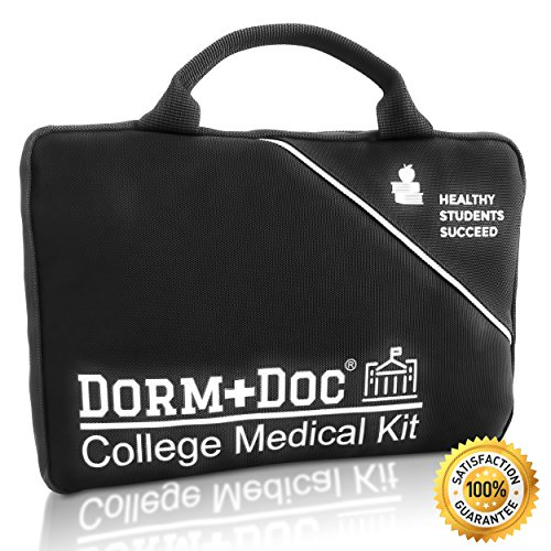 College First Aid Medical Kit Essential Dorm Room Accessory - Complete 125 Piece Kit with First Aid 6 OTC Meds Pharmacist (First Aid Gift)