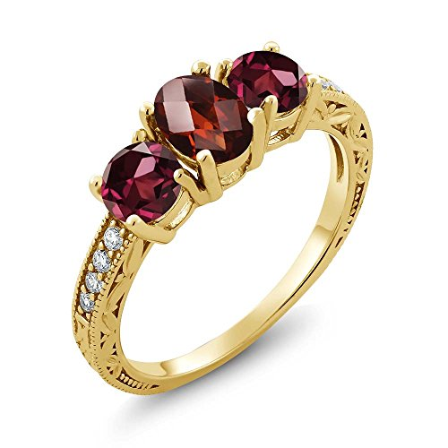 Gem Stone King 2.12 Ct Oval Checkerboard Red Garnet Red Rhodolite Garnet 18K Yellow Gold Plated Silver Ring (Size 9)