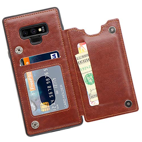 MMHUO Galaxy Note 9 Wallet Case, PU Leather Galaxy Note 9 Case with Credit Card Holders Double Magnetic Buttons Flip Shockproof Protective Cover Compatible Samsung Galaxy Note 9 (2018) - Brown