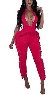 8e369f6fe901 Women s Stripe 2 Piece Outfits Ruffle Jumpsuit Crop Top + Skinny Pants Set