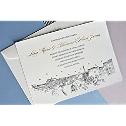 Las Vegas Destination Wedding Skyline Wedding Invitations Package (Sold in sets of 10 Invitations, RSVP Cards and Envelopes)