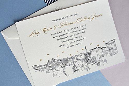 Vegas Invite - Las Vegas Destination Wedding Skyline Wedding Invitations Package (Sold in sets of 10 Invitations, RSVP Cards and Envelopes)