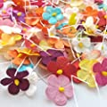 90 Pcs Mixed Color Mulberry Paper Flower Blossom DIY Crafts 15-18mm