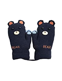 Xinqiao Kids Winter Warm Knit Mitten with String Glove for Boys Girls 3-5 Years (Navy)