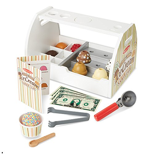 51HH5qGW FL - Melissa & Doug Wooden Scoop and Serve Ice Cream Counter (28 pcs) - Play Food and Accessories