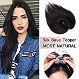 100% Density Top Hair Pieces Silk Base Crown Topper Human Hair Clip in Hair Toppers Top Hairpieces for Women with Thinning Hair Gray Hair/Hair Loss #01 Jet Black 10 inches 20g