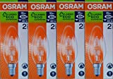 4 x OSRAM Classic Eco Superstar 30W (=40W) CANDLE SES E14 Halogen Energy Saving Light Bulbs, Small Edison Screw Cap, Dimmable Lamps, 405 Lumen, Mains 240V