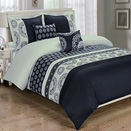 10PC Chelsea California-King Size Embroidered Bed in a Bag Comforter Set, Black, by Royal Hotel