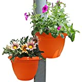 GeLive Downspout Hugger Pot Hanging Planter Attaches To Pipe Rail Succulent Plants Vertical Garden Decoration 2 Pack