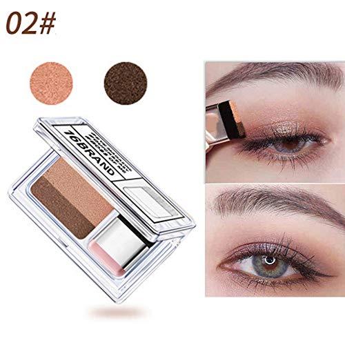 Eye Shadow, 2 Color Lazy Eye Shadow Powder Rainbow Shimmer Makeup Beauty Shadow (B)