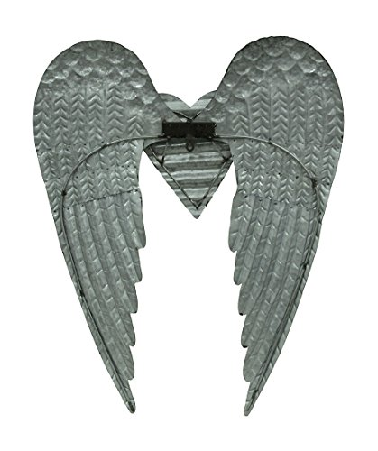 Zeckos Metal Wall Sculptures Galvanized Metal Winged Heart Wall Sculpture 22.5 X 27.5 X 2.5 Inches Silver by Zeckos (Image #2)