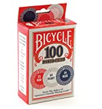 Playing Cards Accessory The 2 gram box of Bicycle Poker chips is about the size of a deck of Poker cards. The 100 chips include 50 ivory chips, 25 red chips and 25 blue chips. Compact and easy to take with you, the 2 gram box of chips also makes it e...