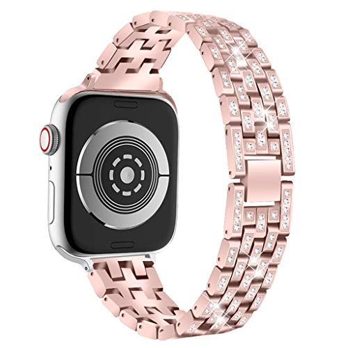 (BabiQ for Apple Watch Series 4 for Woman Girls, Fashion Bling Crystal Stainless Steel Metal Bracelet Strap Band Replacement for Apple Watch Series 4 (Pink, 44mm))