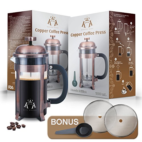 Copper French Press Coffee Maker Stainless Steel Cafetiere by King Koffee   34oz 1000 mL 8 Cups   Unique Extra Large Plunger   Antique Classic Edition   Milk Frother, Tea Infuser   Rust Free by VIKING (Image #8)