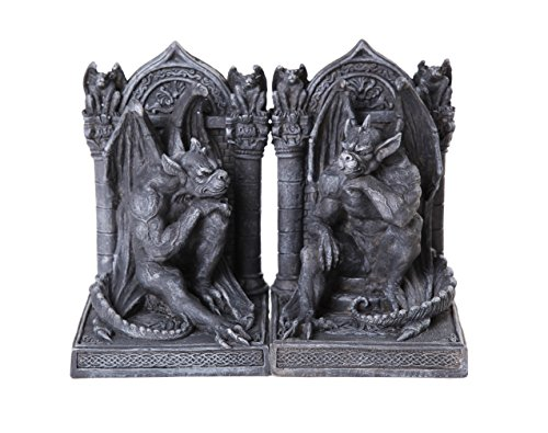 (Pacific Giftware Gothic Thinker Gargoyle Sculpture Stone Finish Book Ends Set 6.75 Inches Tall)