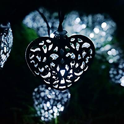 LED SopoTek white Solar Powered String Lights 20LED 4.8Meters iron heart-shaped for Outdoor Garden Fence Patio Christmas Party Wedding Decoration Waterproof (20LED Cool white)