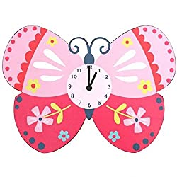 Large Sturdy Butterfly Wall Clock Bright Children's Bedroom Cupcake Pink White Blue Yellow Floral Spot