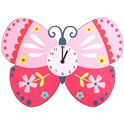 Butterfly Floral Clock - Large Sturdy Butterfly Wall Clock Bright Children's Bedroom Cupcake Pink White Blue Yellow Floral Spot