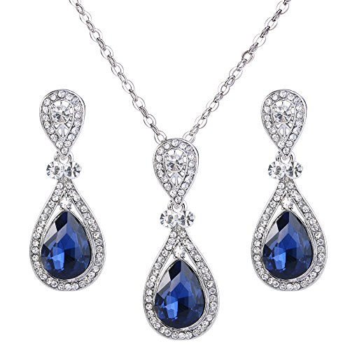 BriLove Wedding Bridal Necklace Earrings Jewelry Set Elegant Crystal Teardrop Pendant Necklace Dangle Earrings Set Navy Blue Sapphire Color Silver-Tone