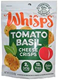 Whisps Tomato Basil Parmesan Cheese Crisps; 100% Cheese, Low Carb, Gluten Free, High Protein (12 Pack)