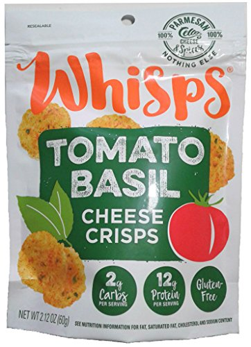 Whisps Tomato Basil Parmesan Cheese Crisps; 100% Cheese, Low Carb, Gluten Free, High Protein (12 Pack) by Cello