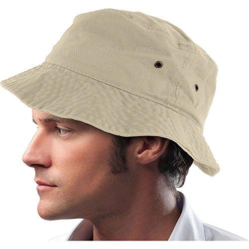 Mens 100% Cotton Fishing Hunting Summer Bucket Cap Hat (L/XL, Putty) Mens Bucket