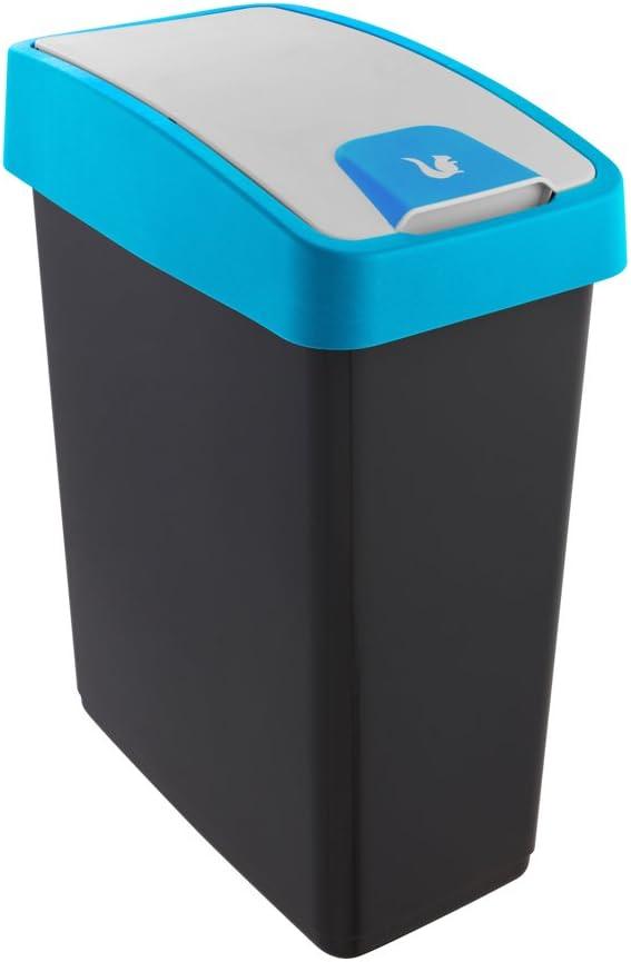 Magne keeeper Premium Abfallbeh/älter mit Flip-Deckel Soft Touch 10 l Blau