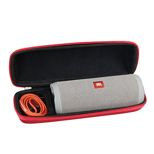 Hermitshell Hard EVA Travel Red Case Fits Flip 4 Splashproof Portable Bluetooth Speaker