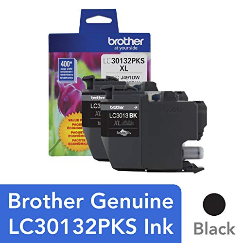 (Brother Genuine LC30132PKS 2-Pack High Yield Black Ink Cartridges, Page Yield Up to 400 Pages/Cartridge, LC3013)