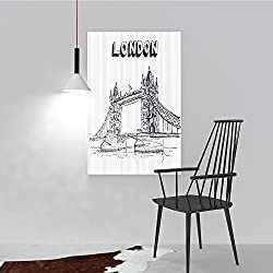 Philip C. Williams Hanging Wall Decoration Painting eHistoricaln and Bus Great ll Clock Tower UK Europe StreLandmark for Living Room Office Hotel Frameless W20 x H40