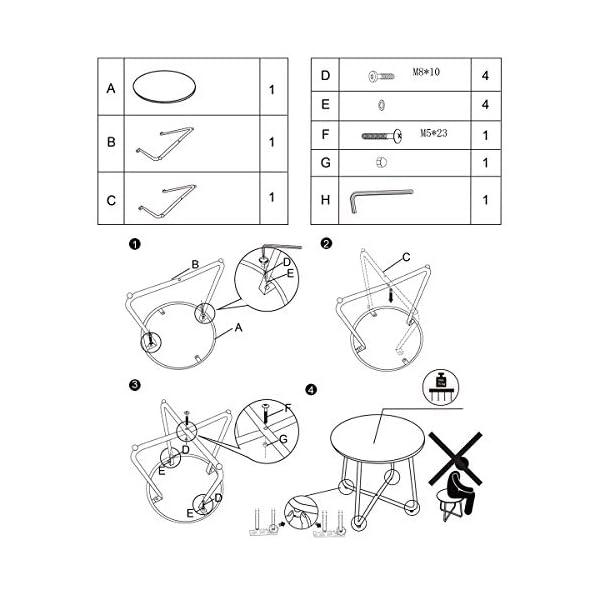 Table Basse Ronde Petite en métal Table d'appoint au Design Moderne Meubles durables pour Salon Salle à Manger Chambre à…