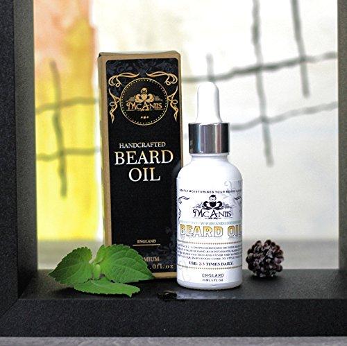 Mcaniis Premium - Aceite de barba natural y puro alcohol libre de parabenos sin fragancia artificial para hombres africanos Halal-Woodland aroma con aceite ...