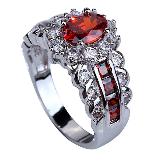 - YAZILIND Flower 68mm Oval Cut Red Created-Garnet Silver Plated Size 8 Ring