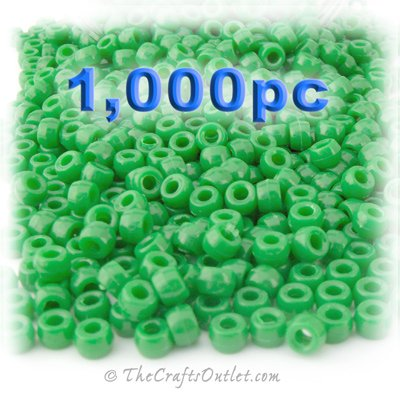 6 Mm Light Green (The Crafts Outlet 1000-Piece Plastic Round Opaque Pony Beads, 9 by 6mm, Light Green)